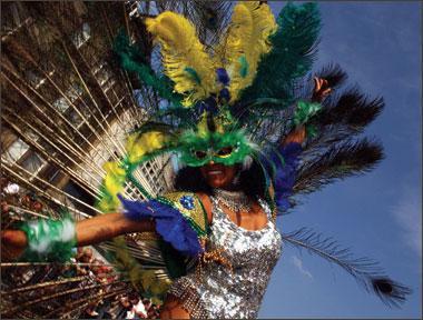 A colourful carnival street dancer.
