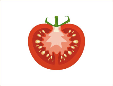 An illustration of the inside of a tomato.