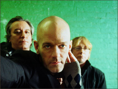 A photograph of rock band R.E.M.