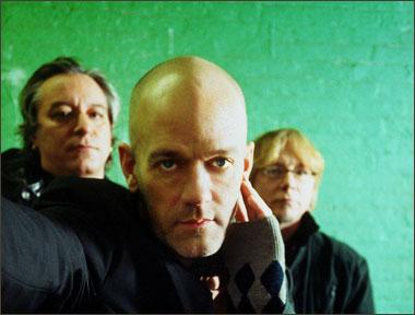 A photograph of rock band R.E.M.