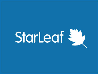 Starleaf logo appearing in white on a blue background.