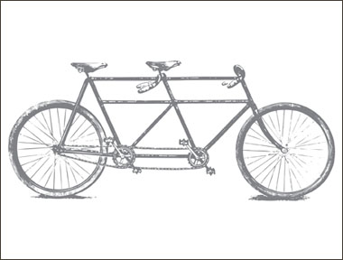An illustration of a tandem bicycle.