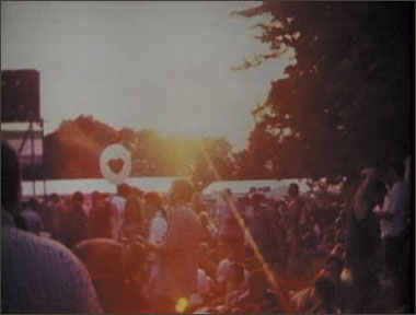 A crowd shot of the Cambridge Folk Festival.