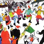 Colourful illustration of a street party scene.