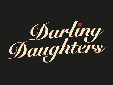 An identity for parenting organisation 'Darling Daughters' consisting of cream-coloured cursive type on a dark brown background.