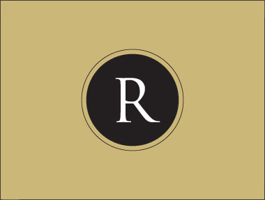 A section of an identity for Renovation Insurance Brokers showing a white uppercase 'R' in a black circle on a gold background.